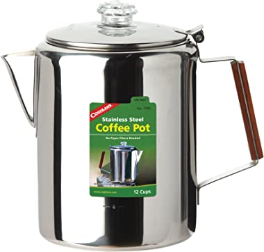 Coghlan's 12-Cup Stainless Steel Coffee Pot, Silver