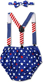 Eunikroko Patriotic Cake Smash Outfit for Baby Boy 1st Birthday Party Red White Blue Stars Pattern Suspender Bloomers and Bowtie