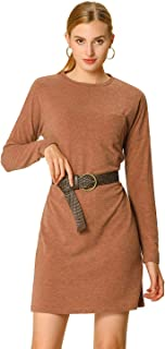 Allegra K Women's Long Sleeve Pocket Round Neck Fall Belted Ribbed Dress