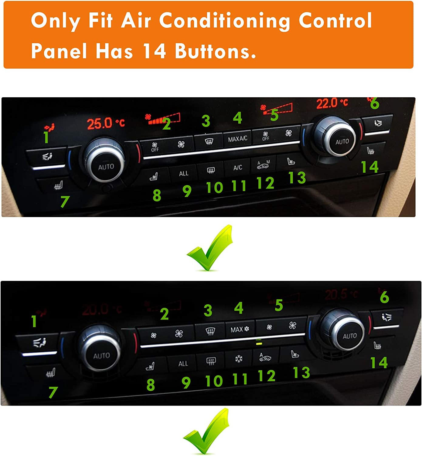 Moonlinks F10 Fan Speed Button Replacement air Conditioning Fan Switch Button Cap For BMW F07 F10 F11 F12 F13 F15 F16(2 Piece,14 Button Version)
