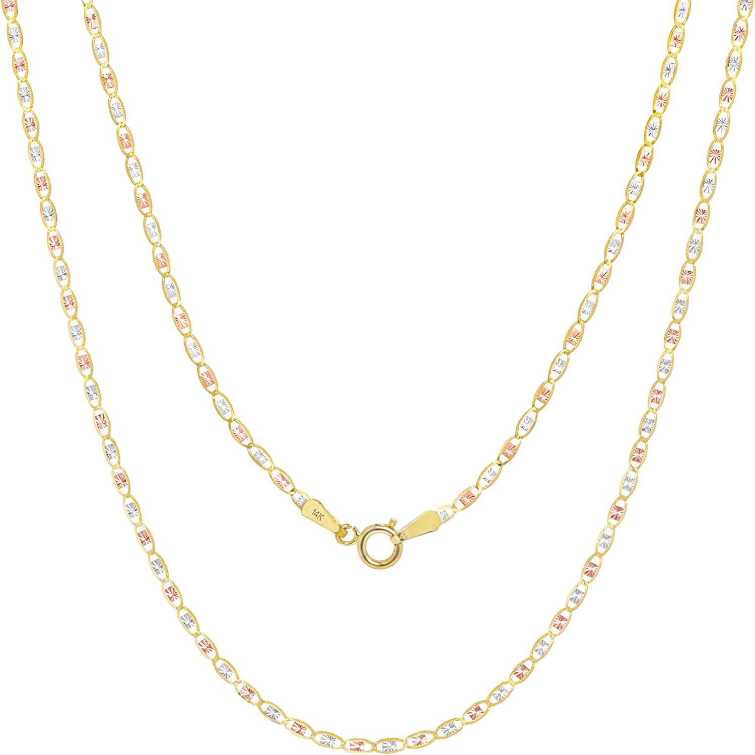 Nuragold 14k Tri Color Yellow White Rose Gold 1.5mm Valentin Mariner Anchor Link Chain Pendant Necklace, Womens 16