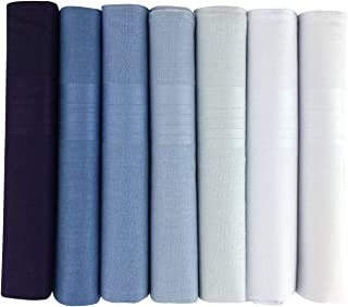 Warwick & Vance Pack Of 7 Mens/Gentlemens Dyed Handkerchiefs, Blue To White With Satin Stripe Borders, 100% Cotton, 40 x 40cm