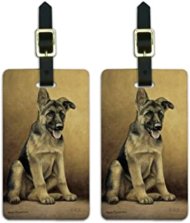 German Shepherd Puppy Portrait Luggage ID Tags Carry-On Cards - Set of 2
