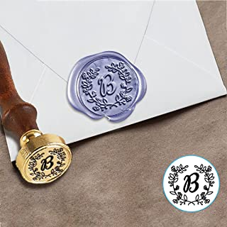 "Custom Wax Seal Wedding Stamp Kit with Sealing Wax-1"" Die with Lauren Script Font"