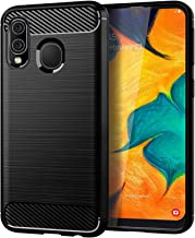 32nd Carbon Series - Slim Armour Shockproof Case Cover for Samsung Galaxy A40 (2019), Slim and Durable Protective Case - Black
