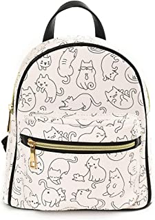 Kids Kitty Print Backpack - Polyurethane Leather, Adjustable Carry Strap - Medium White