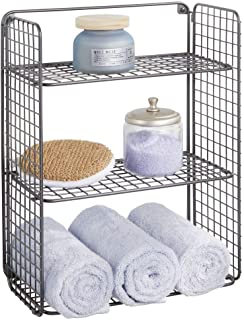 mDesign Tall Metal Wire Farmhouse Wall Decor Storage Organizer Shelf with 3 Levels for Bathroom, Entryway, Hallway, Mudroom, Bedroom, Laundry Room - Wall Mount - Graphite Gray