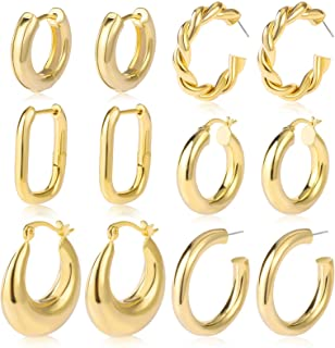 17KM 6 Pairs Gold Chunky Hoop Earrings Set for Women Hypoallergenic Thick Open Twisted Huggie Hoop Jewelry for Birthday/Christmas Gifts