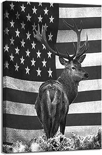 sechars - Black and White American Flag Wall Art US Deer Elk Pictures Canvas Prints for Living Room Bedroom Decor Vintage USA Home Decoration Artwork Framed Ready to Hang
