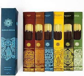 چوب های بخور Jembrana - 6 عطر (144 چوب در کل) ، 24 چوب هر کدام از لوتوس (پادما) ، چوب صندل ، گاردنیا ، Maha Triloka ، Raja Harum را مخلوط کنید
