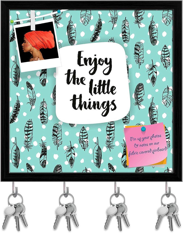 Artzfolio Enjoy The Little Things Key Holder Hooks   Notice Pin Board   Black Frame 20 X 20Inch