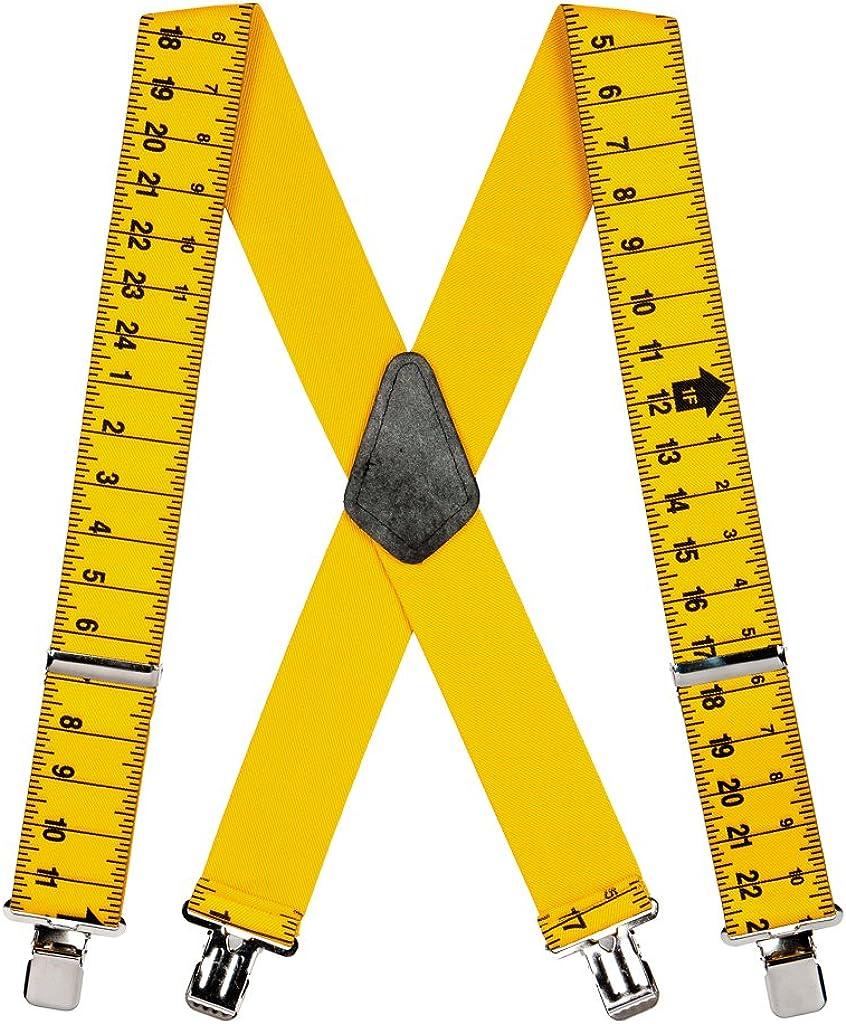 SuspenderStore Men's Tape Measure Suspenders - Construction Clip