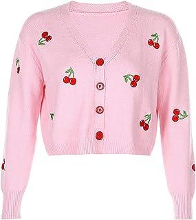 SMIMGO Mujeres Recortada Cárdigans Cuello en V Suéter Y2k Moda Estética Ropa Tejida Tops Casual Vintage Jersey Jersey Jersey