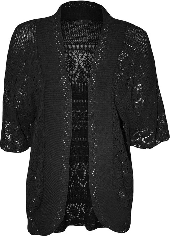 GirlzWalk Women Knit Crochet Short Sleeve Cardigan Plus Size