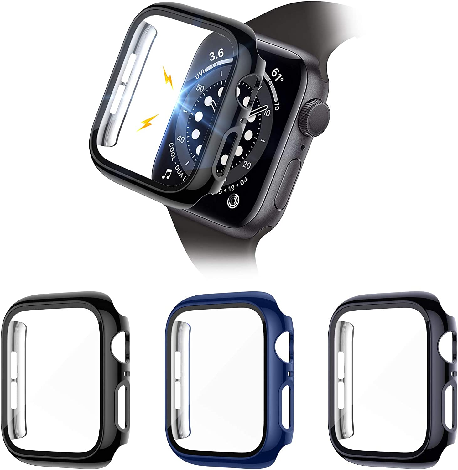 Liwin 3-Pack Tempered Glass Screen Protector Cases Compatible with Apple Watch SE/Series 6/5/4 44mm, HD Hard PC Protective Cover Compatible with iWatch Series SE/6/5/4 (Black/Midnight Blue/Charcoal)
