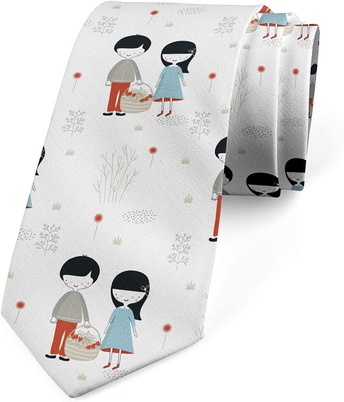 Lunarable Men's Tie, Little Friend Girl and Boy, Necktie, 3.7