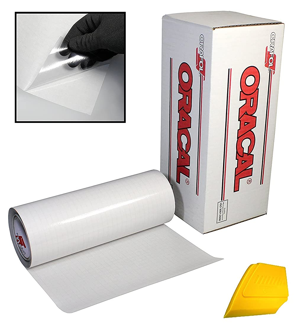 ORACAL Transparent Transfer Paper Tape Roll w/ Hard Yellow Detailer Squeegee (10ft x 12