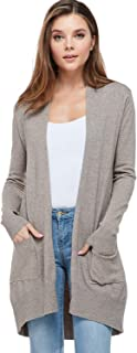 Women's Basic Open Front Long Sleeved Soft Knit Cardigan Sweater Lightweight with Pockets