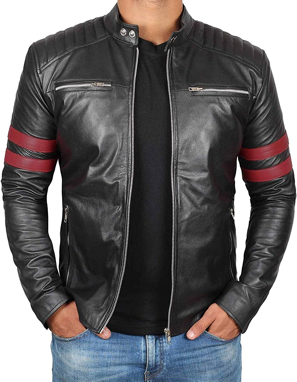 Mens Black Real Lambskin Leather Motorcycle Jacket