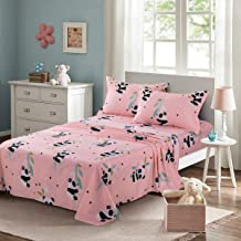 KFZ Twin Sheets Set for Kids –Baby Panda Printed Pink Bedding- 4 Pieces with 1 Fitted Sheet, 1 Flat Sheet and 2 Pillowcase –Soft Egyptian Quality Brushed Microfiber Bed Set