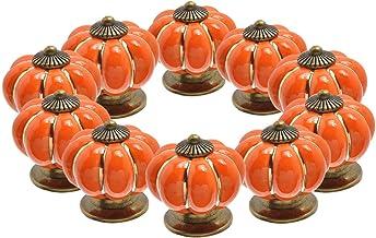 Kabinet knoppen (10 stuks) - keramische handgreep trekknoppen kast pompoen deur kast lade handgrepen - decoratieve antieke...