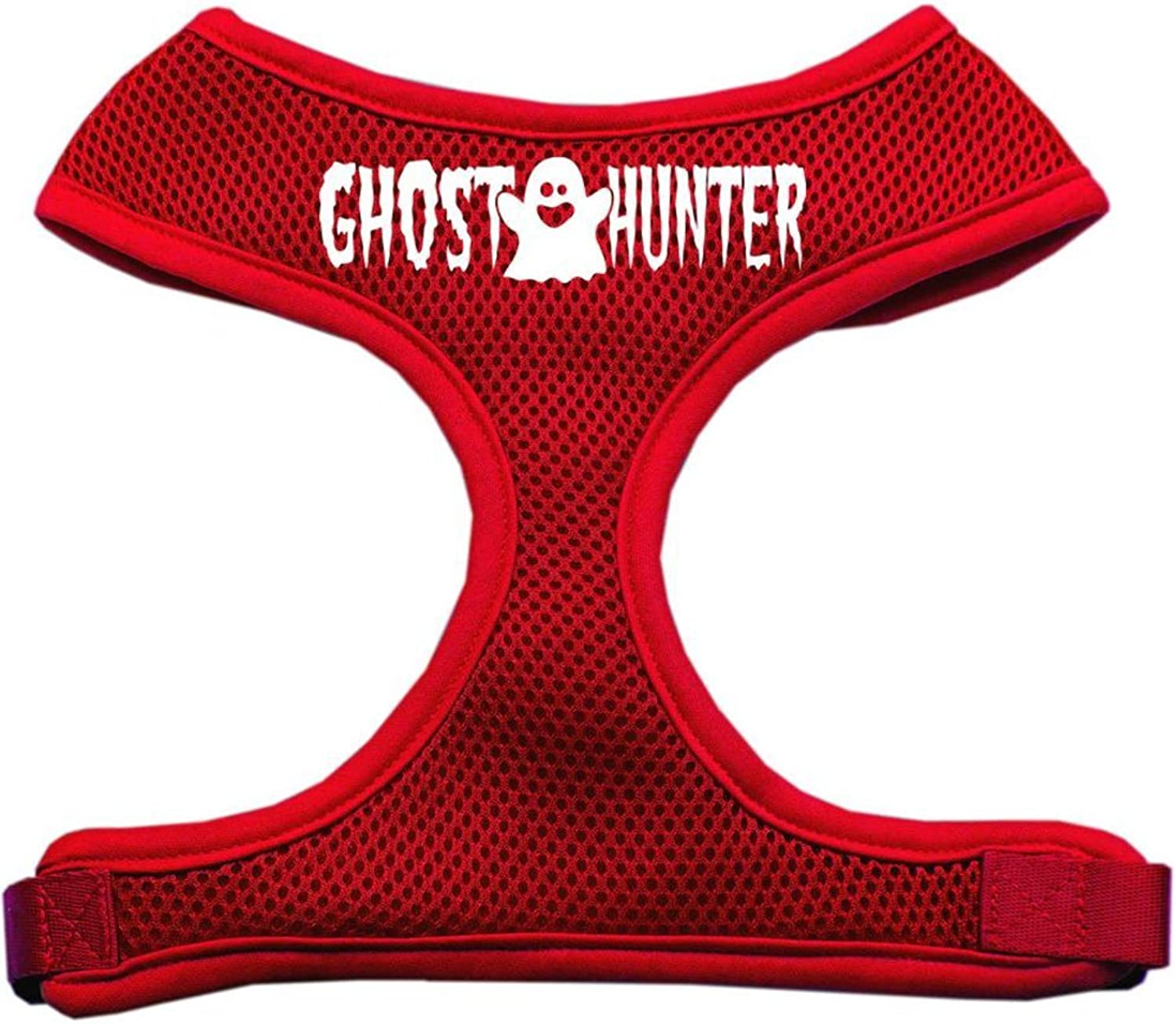 Dog   Cat   Pet Charms Ghost Hunter Design Soft Mesh Harnesses Red Large