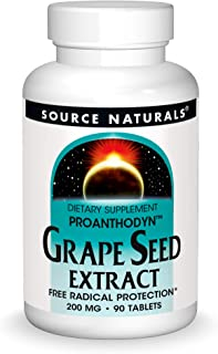 Source Naturals Grape Seed Extract, Proanthodyn 200 mg Antioxidant Protection & Supports Healthy Aging Brain - 90 Tablets