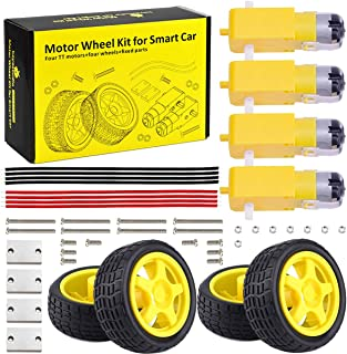 KEYESTUDIO DC Motor Toy Wheel Kit Robot Smart Car, 4.5V DC Uniaxial Gear Motor with Plastic TireRobot Wheels DIY Toys for ...
