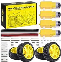 KEYESTUDIO DC Motor Wheel Parts Kit for Arduino Robot Smart Car, 4 x TT Motor 3-6V Uniaxial DC Gear Motors, 4X Small Rubber Wheels for Robotic Vehicle DIY Beginners
