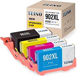 TEINO Remanufactured Ink Cartridges Replacement for HP 902XL 902 XL for Officejet 6958 6962 6954 6950 Officejet Pro 6978 6968 6960 6975 6970 (Black Cyan Magenta Yellow, 4-Pack)