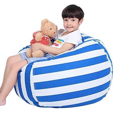 Blue-Black//White EUROPEAN MADE Lab Tested Large Stuffed Animal Storage Bean Bag Cover The Ultimate Storage Solution To Clean Up /& Organize Kids Room Free E-Book