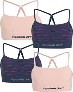Reebok Girls' Seamless Longline Training Bralette with Removable Pads (4 Pack)