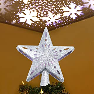 AerWo Christmas Tree Topper Lighted Star Tree Topper with Rotating Snowflake Projector Lights, 3D Glitter Hollow Star Tree Topper for Christmas Tree Decorations