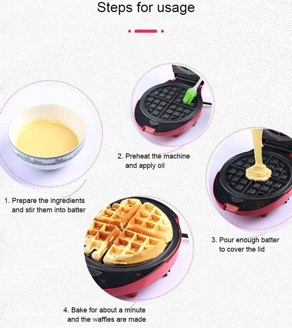 LIUTAO Gaufrier Multifonctionnel pour portions Individuelles de Sandwich au Beignet, Autre Petit-déjeuner à emporter, déjeuner ou collations côtés antiadhésifs Rouge-Rouge Blanc