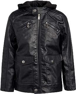 Boys Faux Leather Jacket with Fleece Hoodie