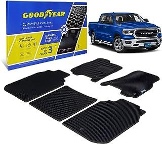 Goodyear Custom Fit Car Floor Liners for Dodge Ram 1500 2009-2018 Crew Cab, Black/Black 5 Pc. Set, All-Weather Diamond Sha...