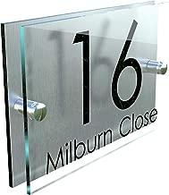 MODERN HOUSE SIGN PLAQUE DOOR NUMBER STREET GLASS EFFECT ACRYLIC ALUMINIUM NAME