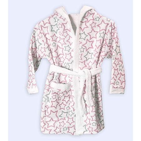 Ti TIN - Albornoz Infantil para Niño o Niña con Capucha de Rizo Toalla 100% Algodón Suave y Absorbente con un Diseño de Estrellitas Color Rosa