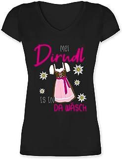 Shirtracer Oktoberfest & Wiesn Damen - MEI Dirndl is in da Wäsch Edelweiss Grau - Damen T-Shirt mit V-Ausschnitt