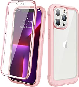 Diaclara Designed for iPhone 13 Pro Case, Built-in [Touch Sensitive] Screen Protector, Full Body Protective Rugged Cover Shockproof Bumper Case for iPhone 13 Pro 6.1'' - Pearl Pink