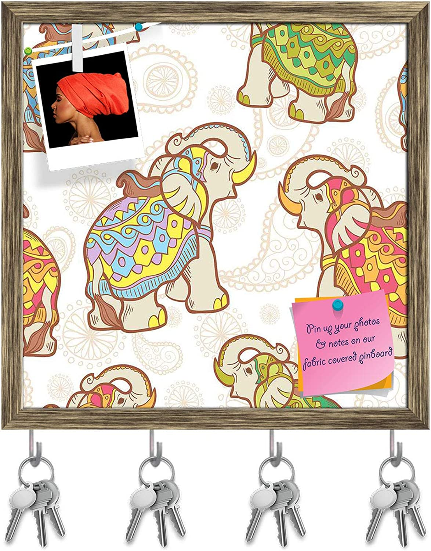 Artzfolio Indian Elephant Key Holder Hooks   Notice Pin Board   Antique golden Frame 20 X 20Inch