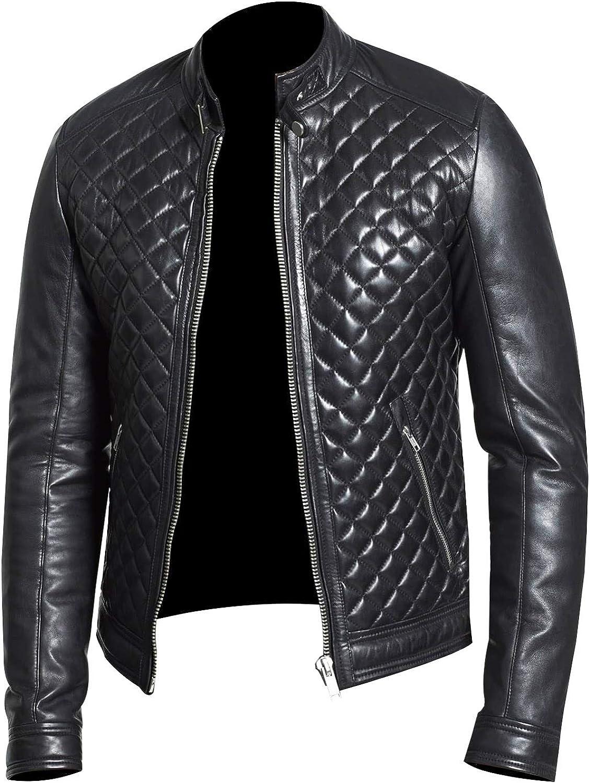 Mens Slim Fit Quilted Biker Cafe Racer Genuine Sheepskin Black Leather Jacket