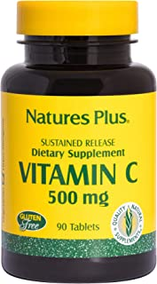 NaturesPlus Vitamin C with Rose Hips, Sustained Relief - 500 mg, 90 Vegetarian Tablets - High Potency Vascular & Immune Su...