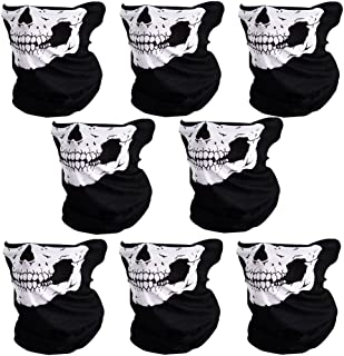 CIKIShield 8pcs Couples Seamless Skull Face Tube Mask Black/White