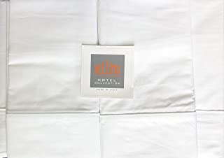Bellino Hotel Collection Italy Solid White Luxury King Size 4pc Sheet Set with a Raised Embroidered White Line Along Hem 100% Cotton Percale