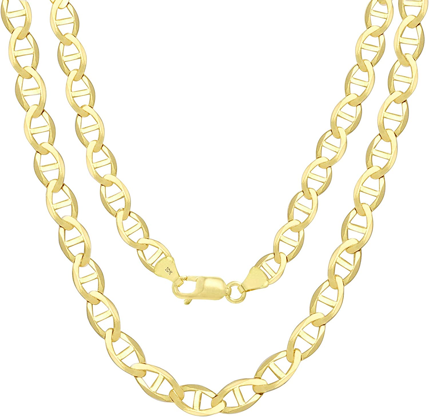 Nuragold 10k Yellow Gold Solid 6mm Anchor Mariner Link Chain Pendant Necklace, Mens Jewelry Lobster Lock 18
