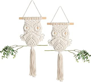 Mokof Handmade Macrame Owl Wall Hanging for Home Decor, Cotton Rope, Set of 2