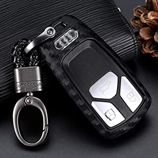 Royalfox(TM) Soft Silicone Carbon Fiber Style Smart keyless Remote Key Fob case Cover for Audi A3 A4 A5 A6 A7 Q3 Q5 Q7 C5 ...