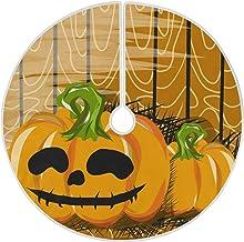 "Naanle Wooden Halloween Pumpkin Christmas Tree Skirt 35"" Tree Skirt Christmas Tree Decoration Blanket Xmas Tree Mat for Me..."