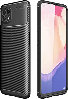 OPPO Reno 4 SE Case, Carbon Fibre Grip Slip-Resistant Soft TPU Silicone Shockproof Protection Case Cover for OPPO Reno 4 S...